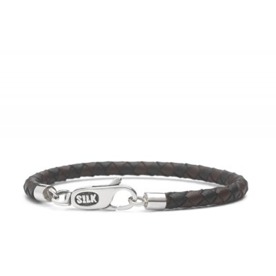 S!lk Bracelet Leather Brown/Black 4mm/19cm