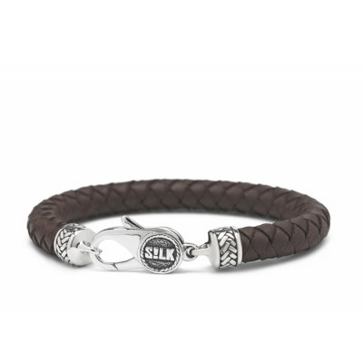 S!lk Bracelet Leather Brown 10mm-21cm