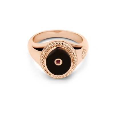 Mi Moneda Icons Ring Black/Rosegold